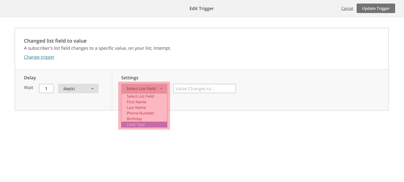 MailChimp create change list field campaign step 2