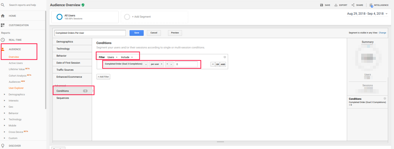 Advanced Segment Goal Completion Per User Google Analytics