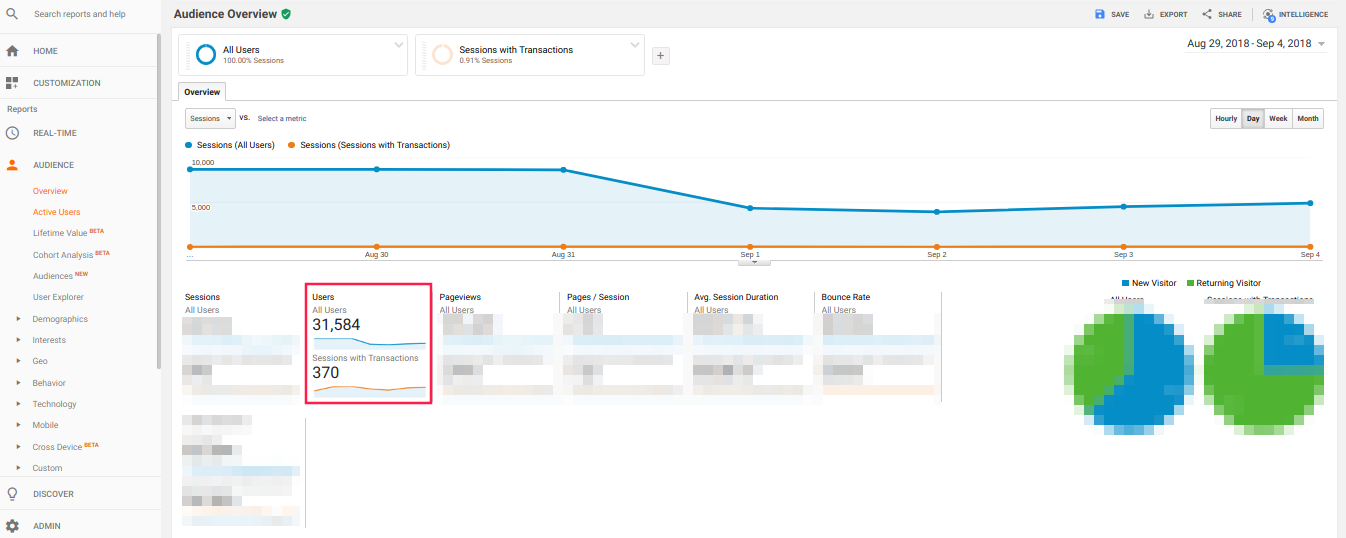 Audience Overview Google Analytics With Applied Filter
