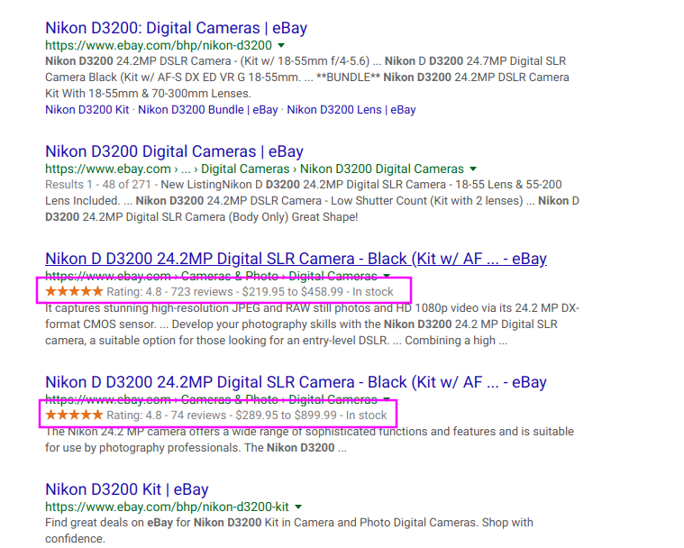 Camera Rich Snippets Search Results