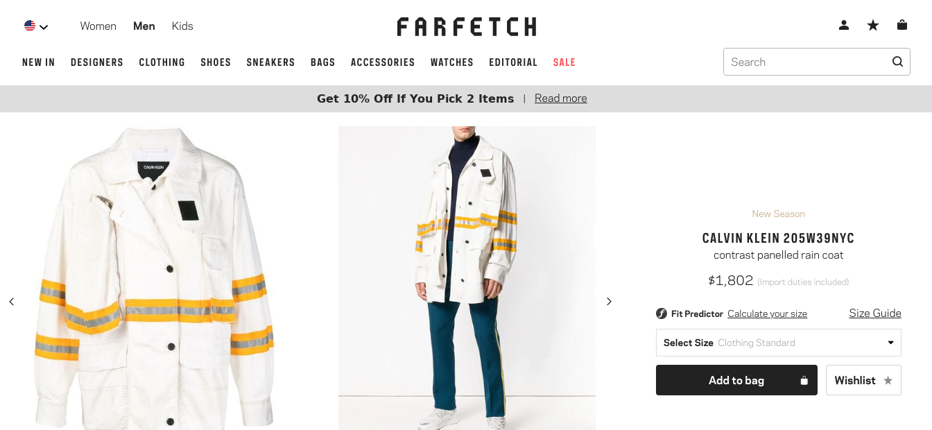 Farfetch High End Fashion Product Message 10 Percent Off